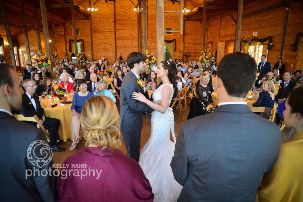 wedding couple dancing in great hall