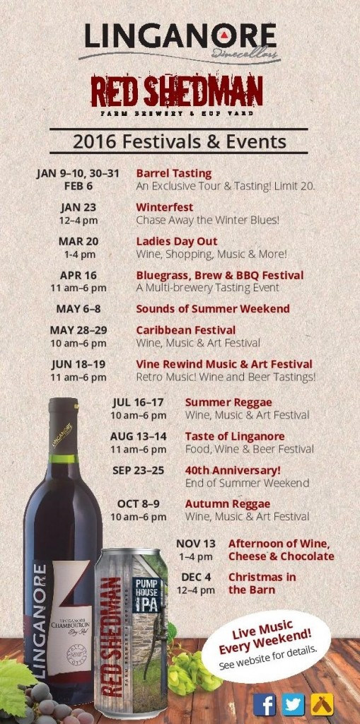 2016 Wine Festivals & Winery Special Events Flyer- Things to Do in Frederick & Mt. Airy MD