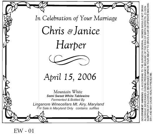 Custom Wedding Wine Labels- Frederick Maryland - Linganore Wines