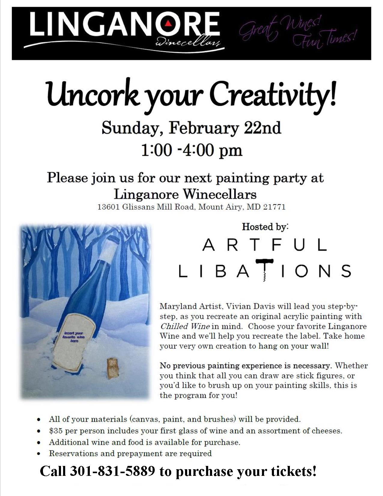 Paint Party with Artful Libations @ Linganore Winecellars | Mount Airy | Maryland | United States