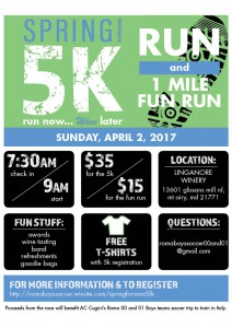 Spring 5k Run Now Wine Later @ Linganore Winecellars | Mount Airy | Maryland | United States