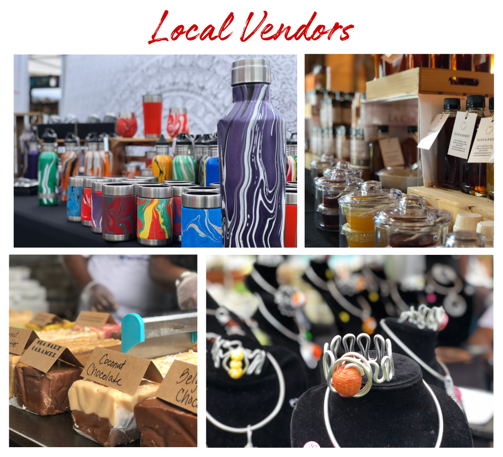 Local Vendors. Images of artisan drinking tumblers, a variety of honey and jams, a variety of fudge, and assorted jewelry.