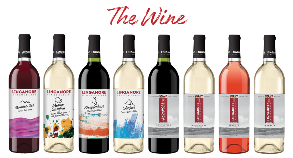 The Wines. Images of a variety of sweet, semi-sweet and dry Linganore wines.